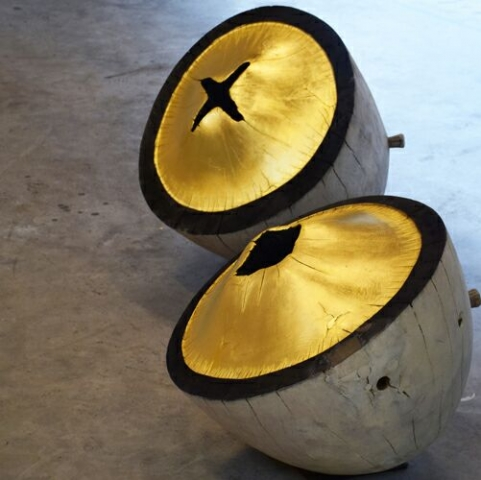 wood object with gold -  jaak hillen